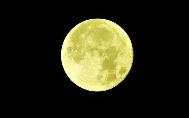 朝方の満月