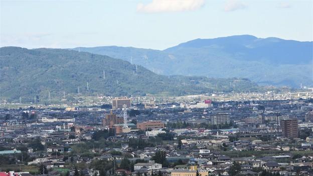 山に囲まれた福島市