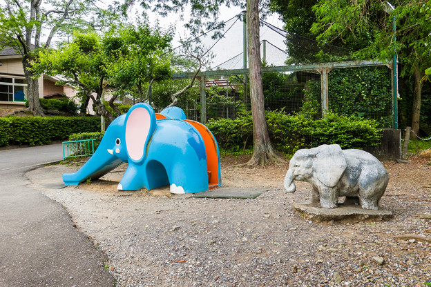 ゾウの滑り台と像