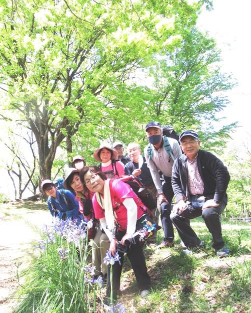 16 尾根上に咲くカキツバタと(1)