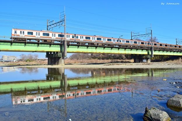 穏やかな春の川面