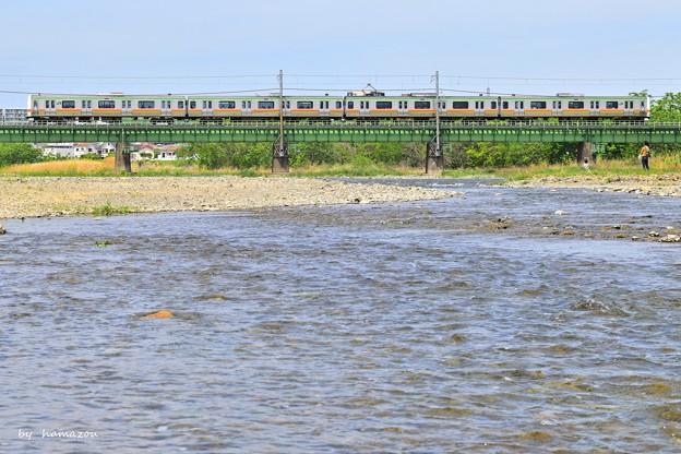 浅川を渡る
