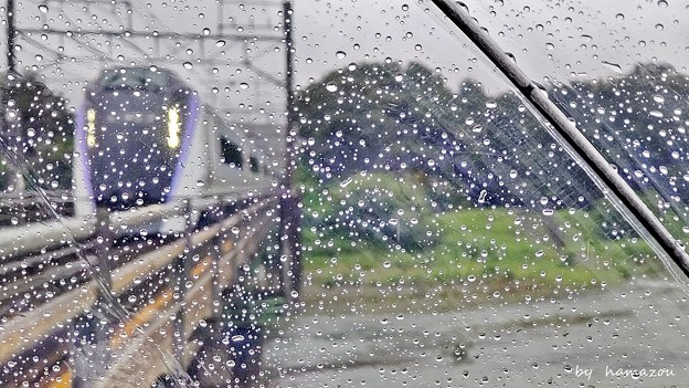 どしゃ降りの雨の中