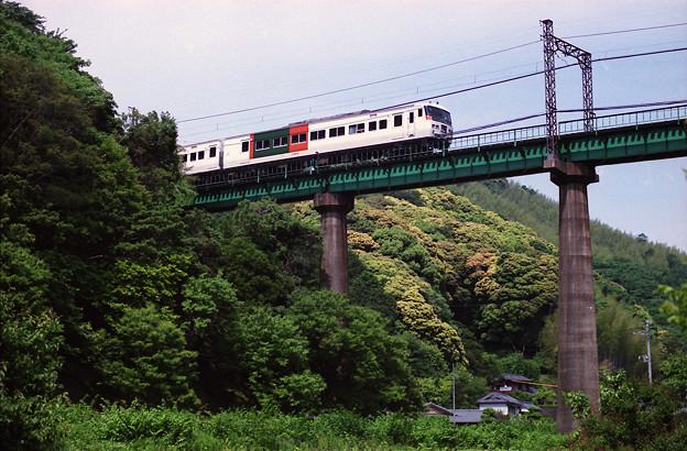 鉄橋を行く「踊り子」号。