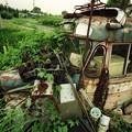 千曲バスのボンネットバス廃車体フロント部