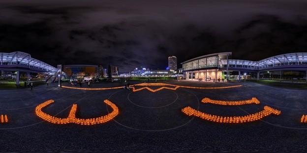 キャンドルナイト ― 2011年3月11日の記憶の為に 清水駅東口 360度パノラマ写真
