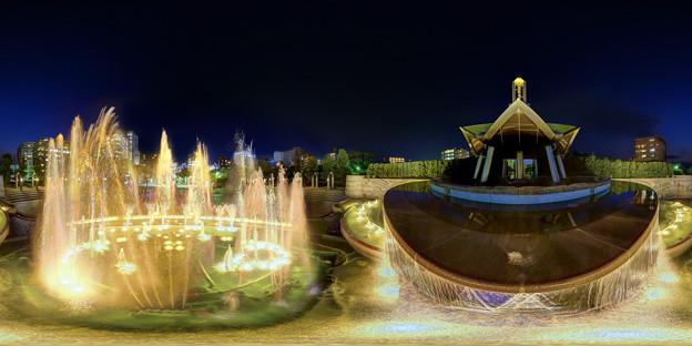 静岡市 常磐公園 噴水 夜景 360度パノラマ写真