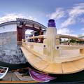 駿府城 東御門橋と遊覧船「葵舟」 360度パノラマ写真
