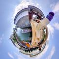 駿府城 東御門橋と遊覧船「葵舟」 Little Planet