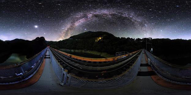 奥大井レインボーブリッジ 星空 360度パノラマ写真