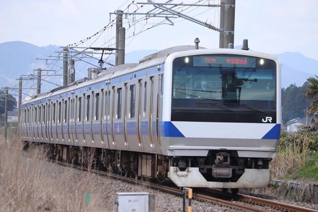 水戸線 E531系K455編成 737M ワンマン 普通 勝田 行 2021.04.03