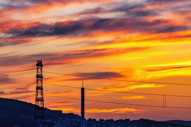 鉄塔のある風景/ Sunset glow