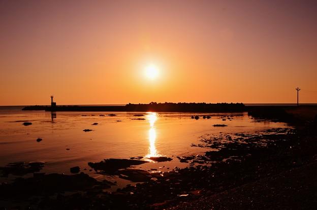 夕景 日本海 上野漁港