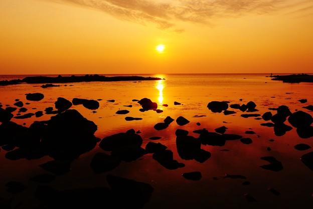 落陽 日本海は能登 福浦海岸