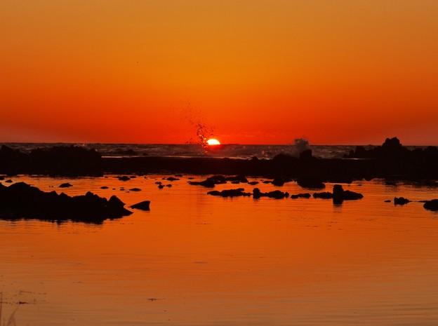 落陽 日本海は能登