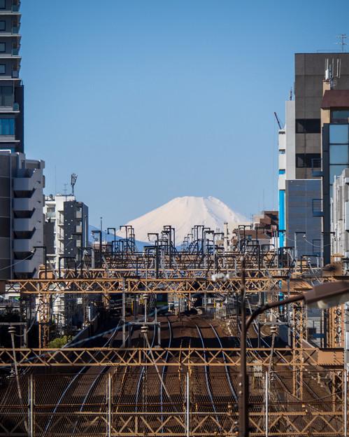 富士山に続く線路