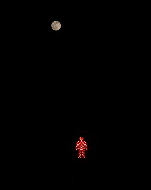 信号待ちのお月様