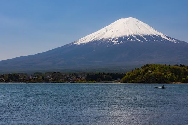 河口湖 大石公園にて 河口湖と富士山