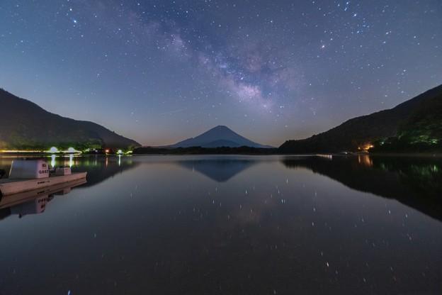 富士と天の川 精進湖にて その1