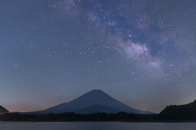 富士と天の川 精進湖にて その2