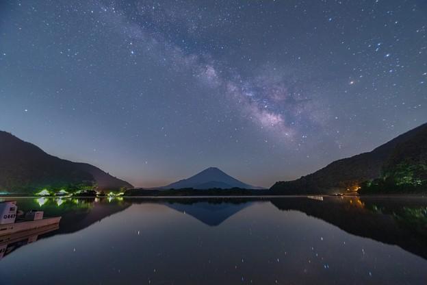 富士と天の川 精進湖にて その3