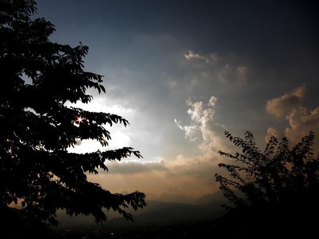 山の上の夕暮れ
