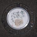 Photos: s81_狛江市マンホール_絵手紙15_自分で道を作るしかない_狛江駅南口前_t