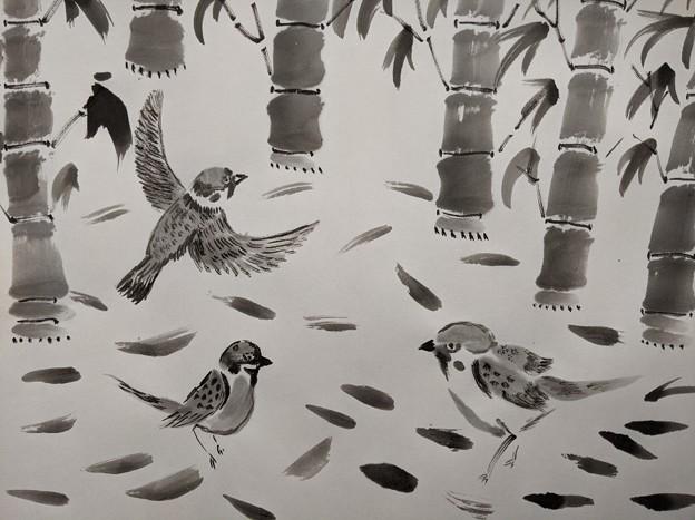 Photos: 竹と雀の図
