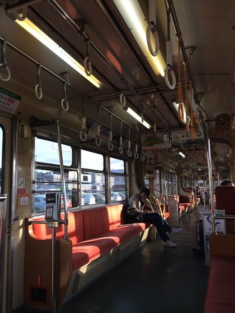 広島電鉄路面電車 車内