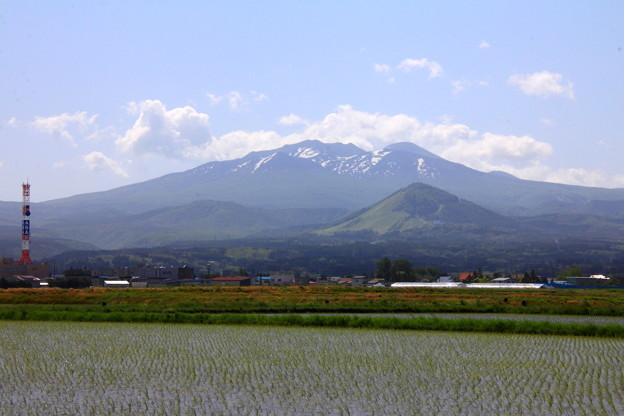 田園地帯から見た八甲田山