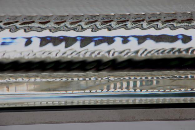 ガラス茶屋の工芸結晶の中の反射模様