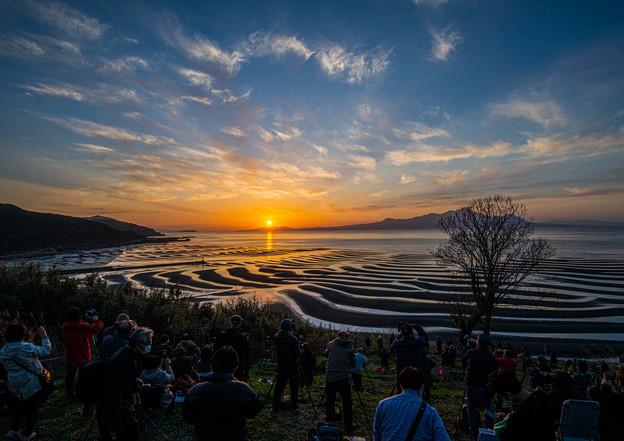 Photos: 砂紋&日の入り