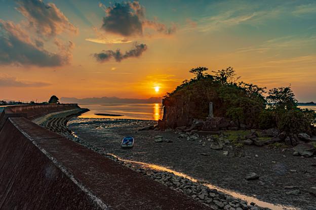 河口の夕陽