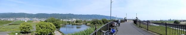 恩智川・池島の遊水池公園と弥生橋