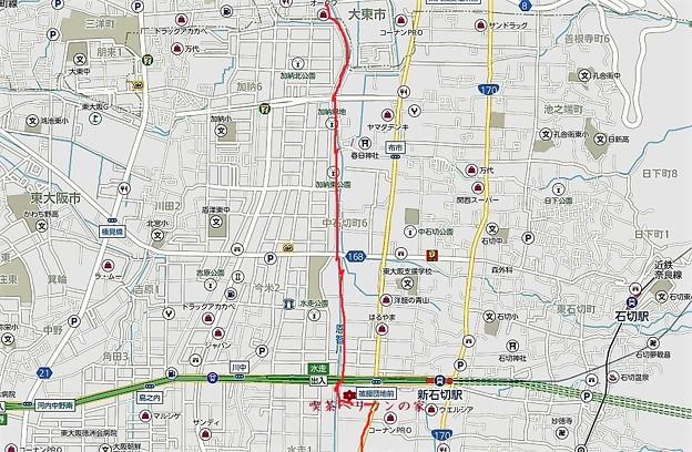 地図1・ペリカンの家~加納緑地~大東市
