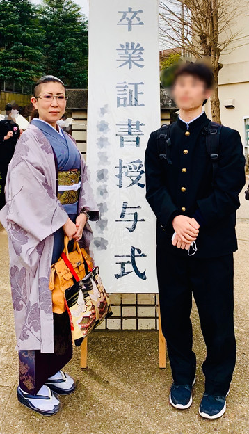 次男坊の中学校卒業式