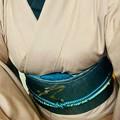 Photos: 水柿色単衣結城紬着物に風神雷神柄洒落袋帯