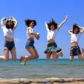 浜辺でジャンプ!