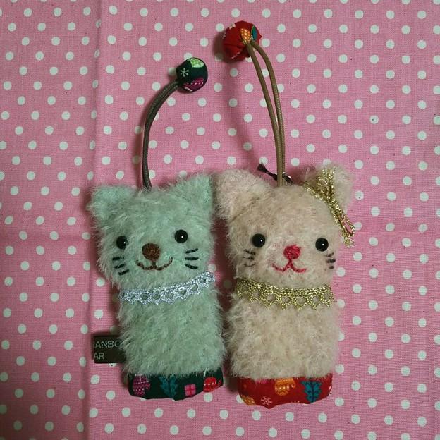キーケース ミントとピンクのネコ