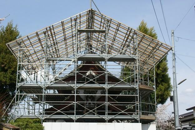 改修中の誓願寺山門