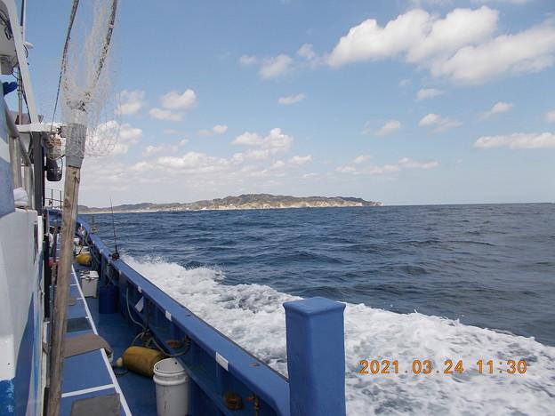 沖上がり後、港に戻る途中。