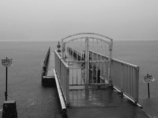 雨降る桟橋