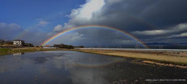 二重の虹と逆さ虹