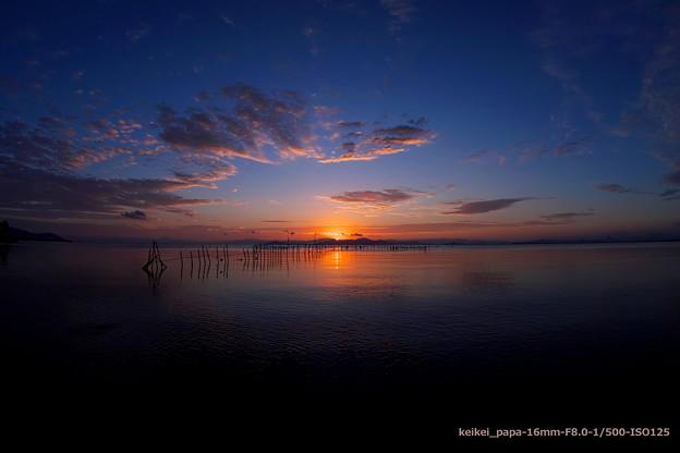湖西の夜明け(魚眼バージョン)