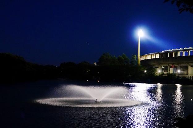210818_37Y_夕闇の競技場と噴水・RX10M3(等々力緑地) (39)