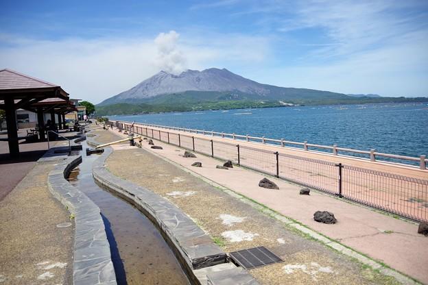 足湯と桜島