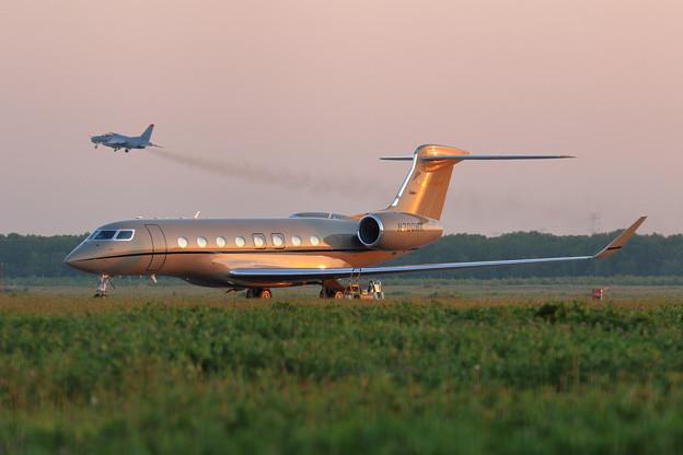 Gulfstream G650 N700MK 夕陽に映え