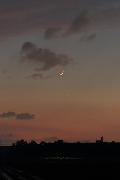 沈みゆく月と金星