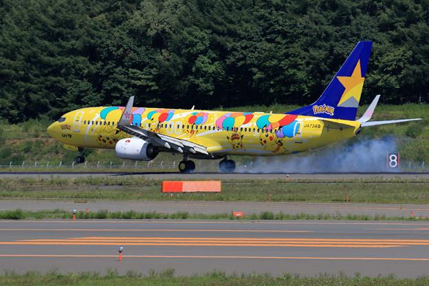 Boeing 737 Skymarkのピカチュウジェット landing