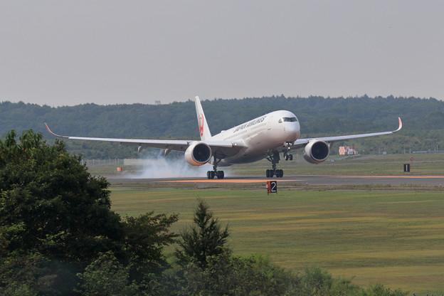 A350 JAL 朝もや上りtouchdown